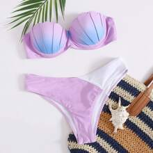 Bandeau Bikini Badeanzug mit Bogenkante und Buegel