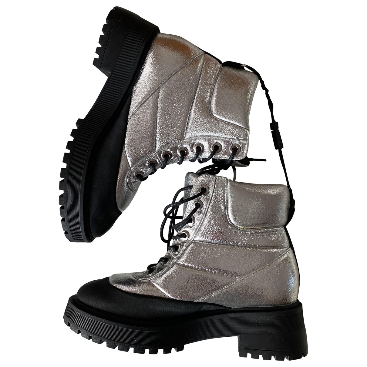 Zara N Silver Rubber Boots for Women 37 EU
