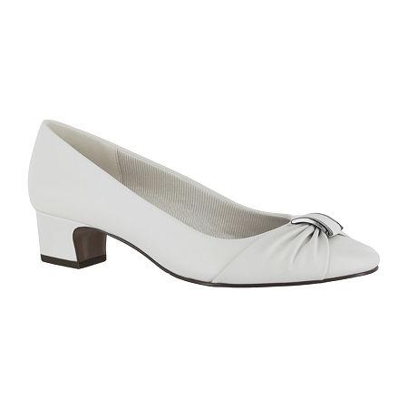 Easy Street Womens Eloise Pumps Block Heel, 11 Medium, White