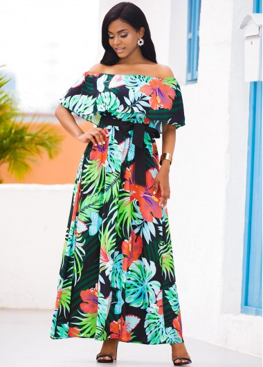Wedding Guest Dress Tropical Print Off the Shoulder Overlay Dress - M