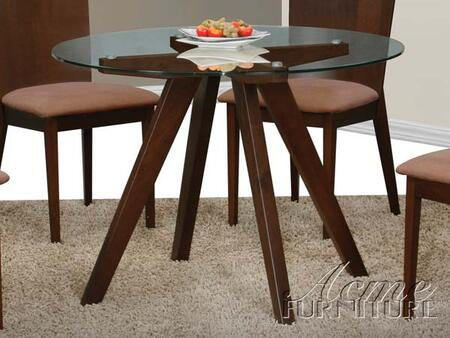 Yeo Collection 12625 42 Dining Table with Clear Glass Top  Tapered Legs  Round Shape and Wood Frame in Dark Walnut