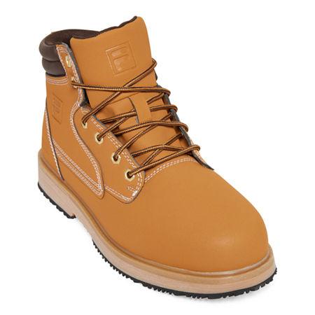 Fila Mens Landing Steel Toe Slip Resistant Slip Resistant Work Boots Flat Heel, 10 Medium, Brown