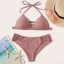 Triangeloberteil Mit Criss Cross Slip Bikini Set