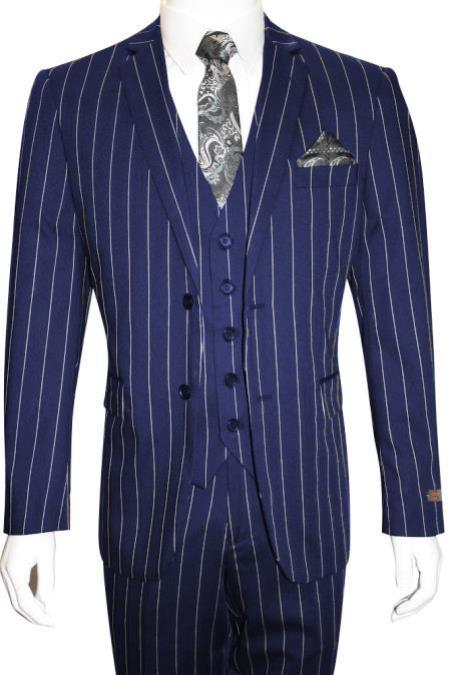 Men's Bold Gangster 1920s Vintage Dark Navy Blue ~ White Vested Suit
