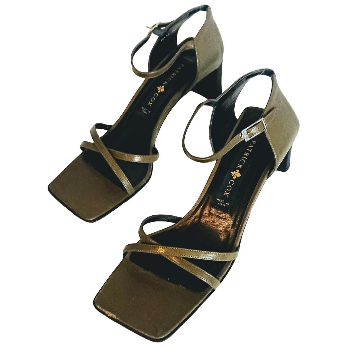 - Sandales   pour femme en cuir - kaki