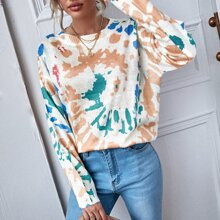 Drop Shoulder Pullover mit Batik Muster