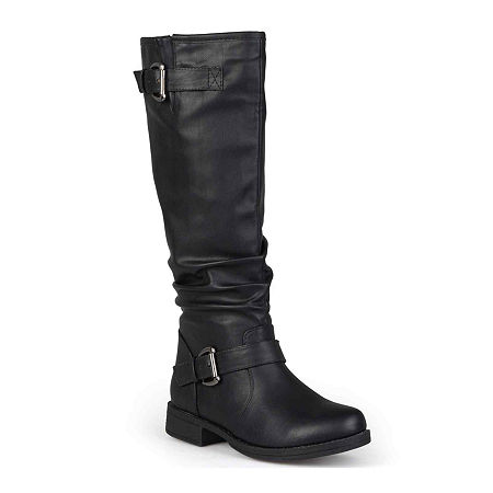 Journee Collection Womens Stormy Buckle-Accented Riding Boots, 9 Medium, Black