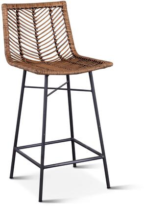 ZWBLICCHB-2X Bali Collection Kubu Rattan Counter Chairs in Set of 2 with Honey Washed Finish and Iron Legs in