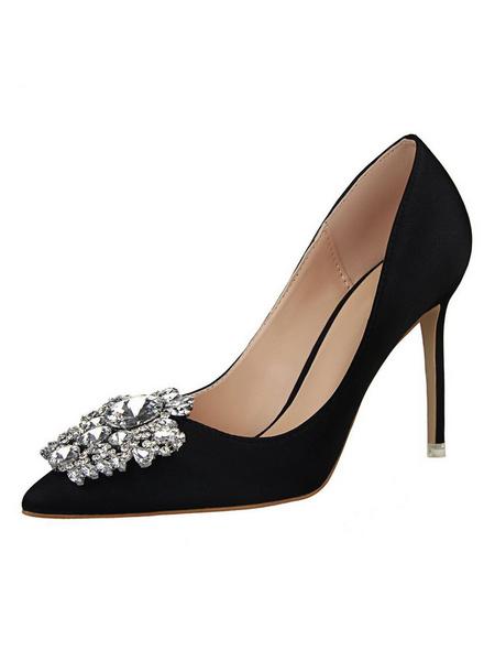 Milanoo Pink High Heels Satin Pointed Toe Rhinestone Evening Shoes Women Dress Shoes