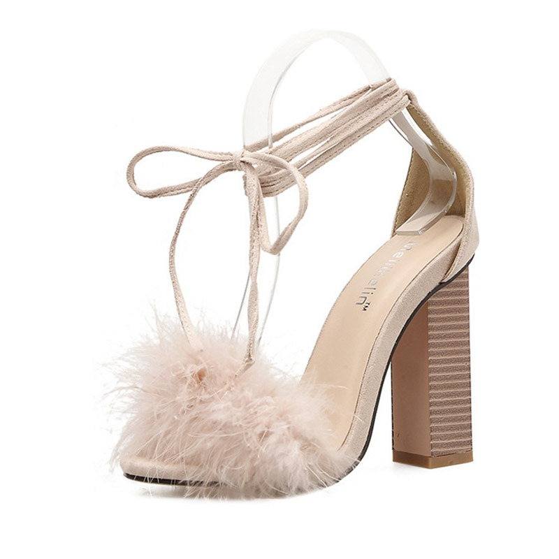 Ericdress Faux Fur Lace-Up Chunky Heel Women's Sandals