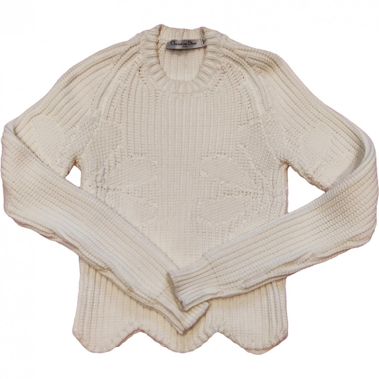 Dior - Pull   pour femme en coton - blanc