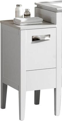 MA12LWH 12 Left Side Small Cabinet with Push Open Bottom Compartment Drawer and Drawer in