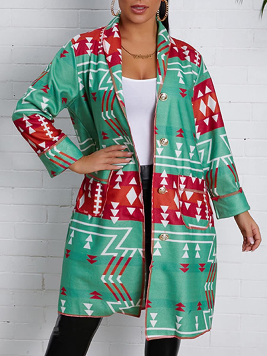 LW Lovely Casual Turndown Collar Print Loose Green Coat