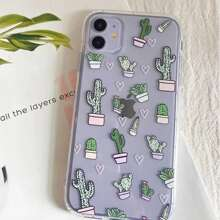Cactus Print Clear iPhone Case
