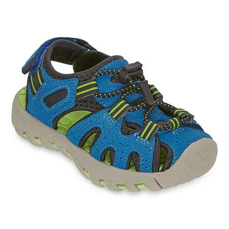 Okie Dokie Lil Marlin Boys Ankle Strap Footbed Sandals, 7 Medium, Blue