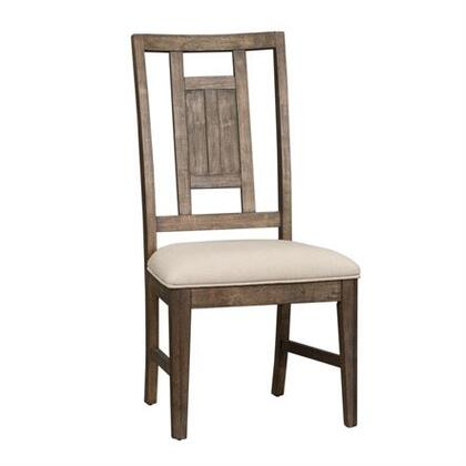 Artisan Prairie Collection 823-C9201S Side Chair with Nylon Chair Glides and Upholstered in Cream Chenille in Wirebrushed Aged Oak with Gray Dusty