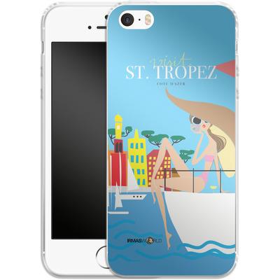 Apple iPhone SE Silikon Handyhuelle - ST TROPEZ TRAVEL POSTER von IRMA