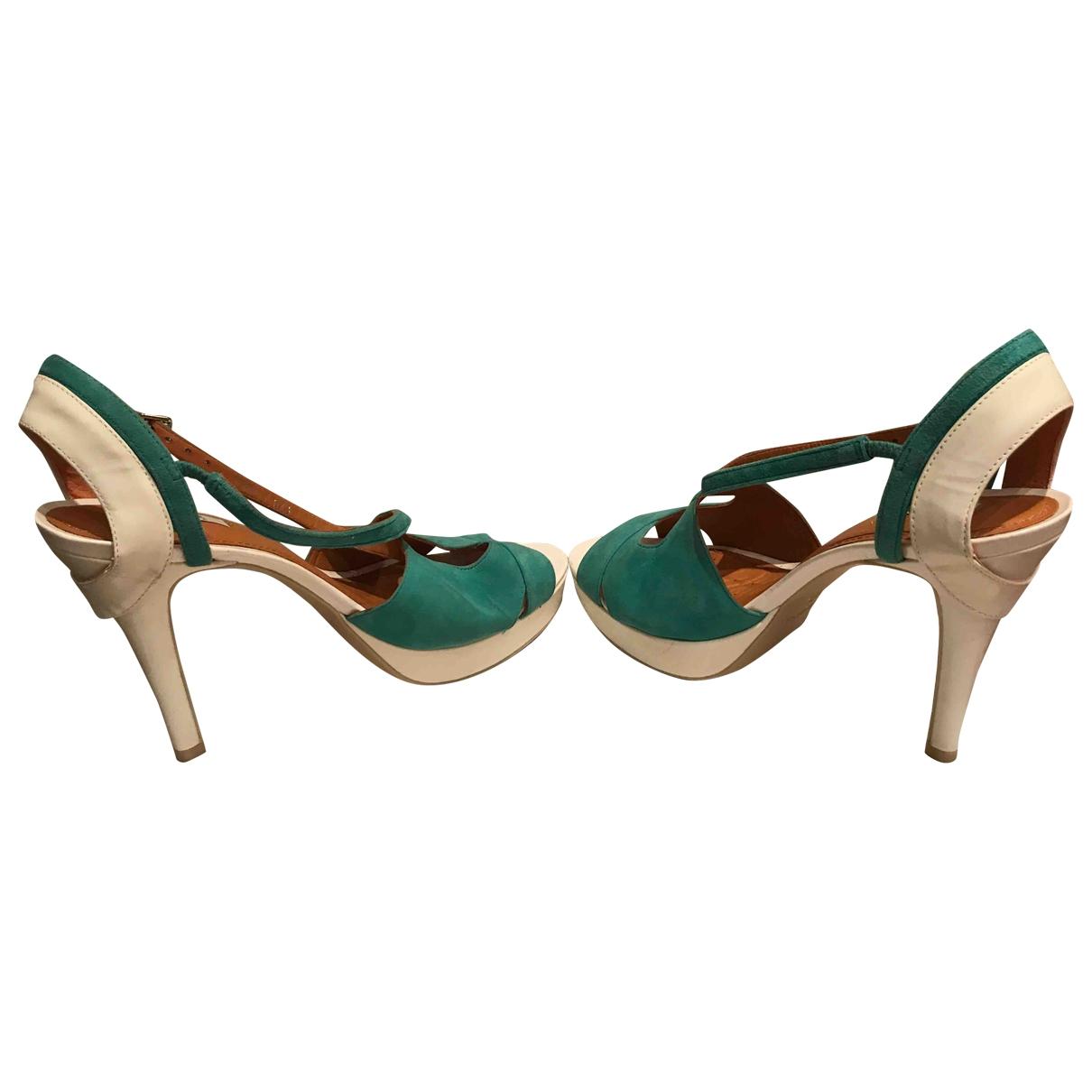 - Sandales   pour femme en suede - vert