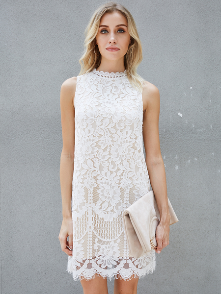 Yoins White Lace Design Round Neck Sleeveless Dress