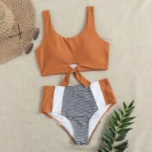 Bikini Badeanzug mit Streifen, Knoten und hoher Taille