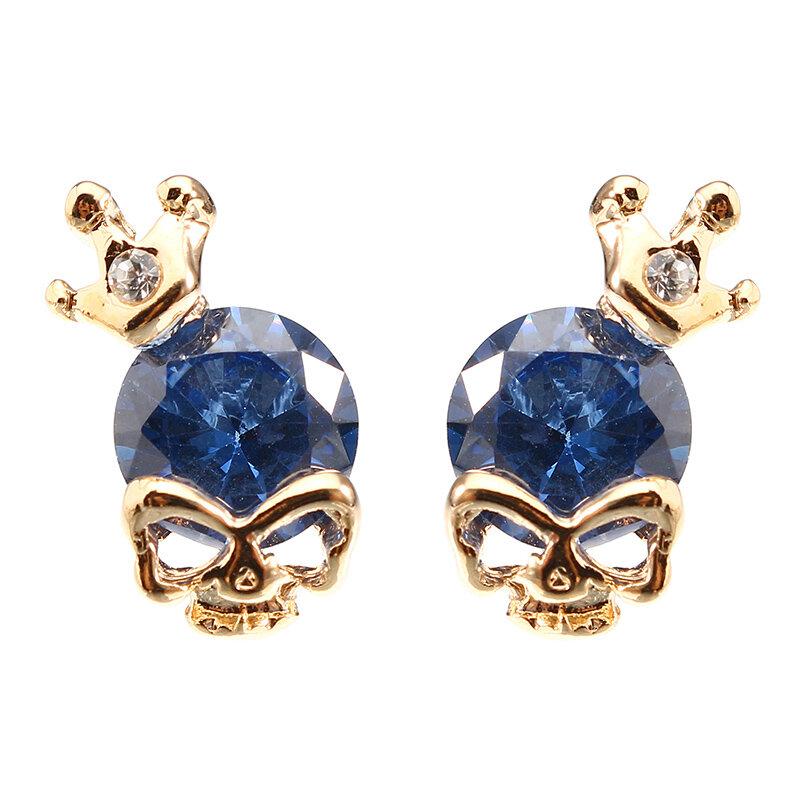 Punk Skull Crown Ear Stud Exquisite Zinc Alloy Rhinestones Earrings for Women