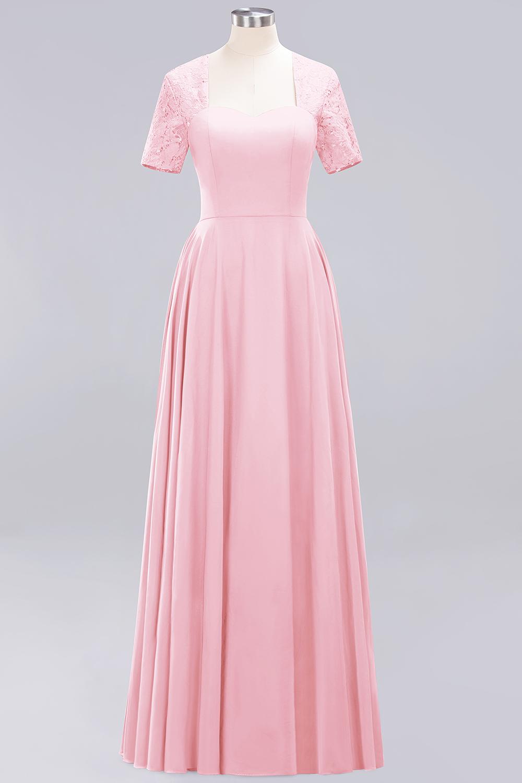 BMbridal Dark Navy Open-Back Long Bridesmaid Dress With Short Sleeves