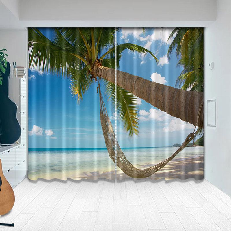 Beddinginn 3D Tropical Palm Trees on Island Curtains