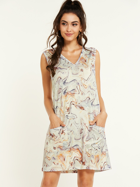 Yoins Apricot Abstract Print Pockets V-neck Sleeveless Dress