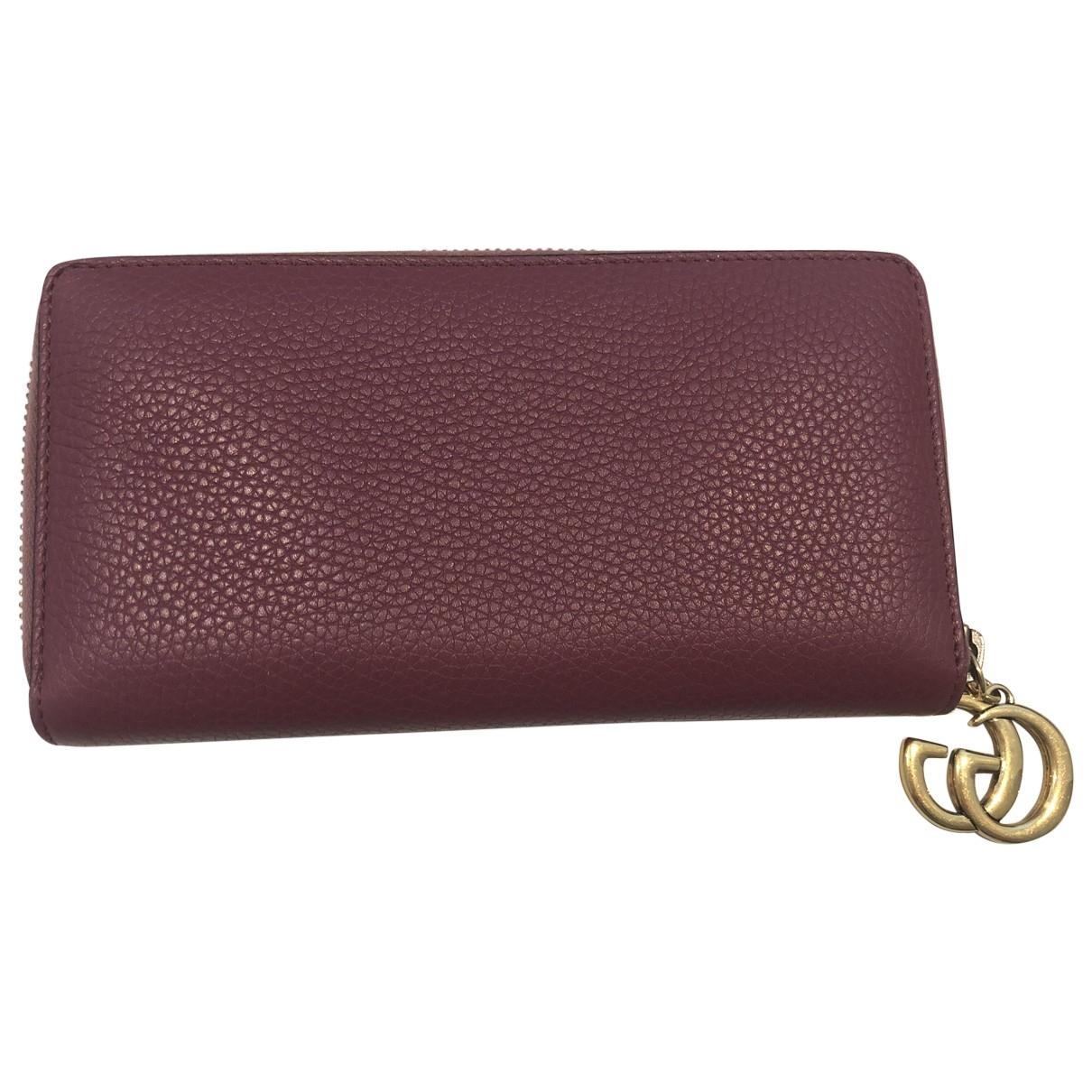 Gucci - Portefeuille Marmont pour femme en cuir - violet