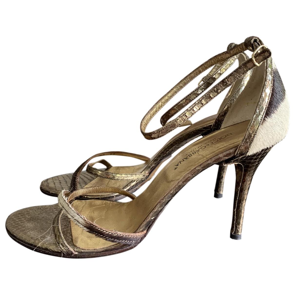 Dolce & Gabbana - Sandales   pour femme en veau facon poulain - dore