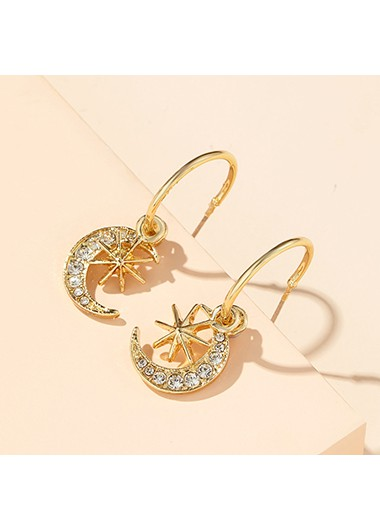 Mother's Day Gifts Star and Crescent Shape Rhinestone Detail Earring Set - One Size