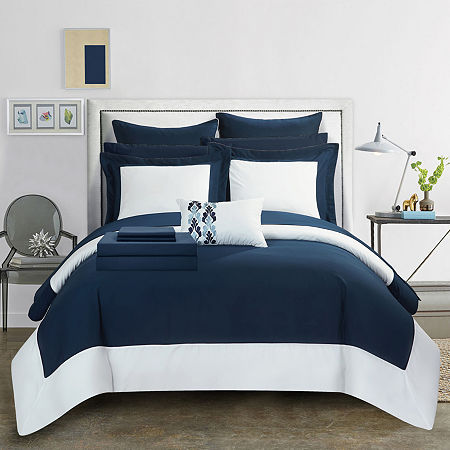 Chic Home Peninsula Midweight Embroidered Comforter Set, One Size , Blue