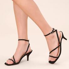 Sandalen mit Schnalle, Knochelriemen und klobigem Absatz