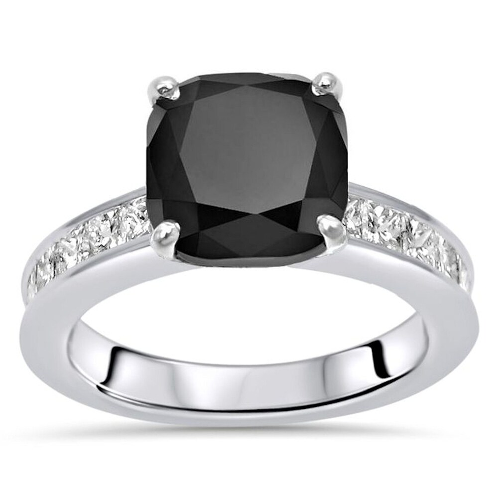 14k White Gold 3.40ct Cushion Cut Black Diamond Engagement Ring (7)
