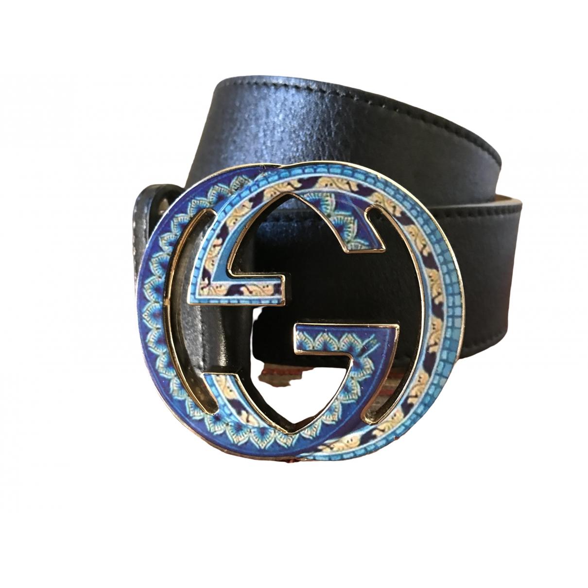 Gucci Interlocking Buckle Black Leather belt for Women 95 cm