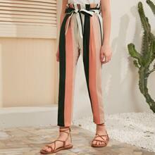 Girls Paperbag Waist Striped Pants