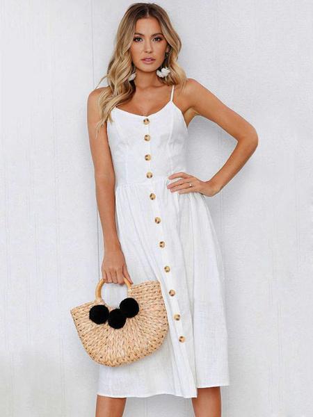 Milanoo Balck Maxi Dress Long Summer Dress Straps Buttons Solid Color Slip Dress