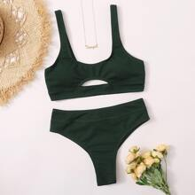 Ribbed Cutout Bikini Swimsuit