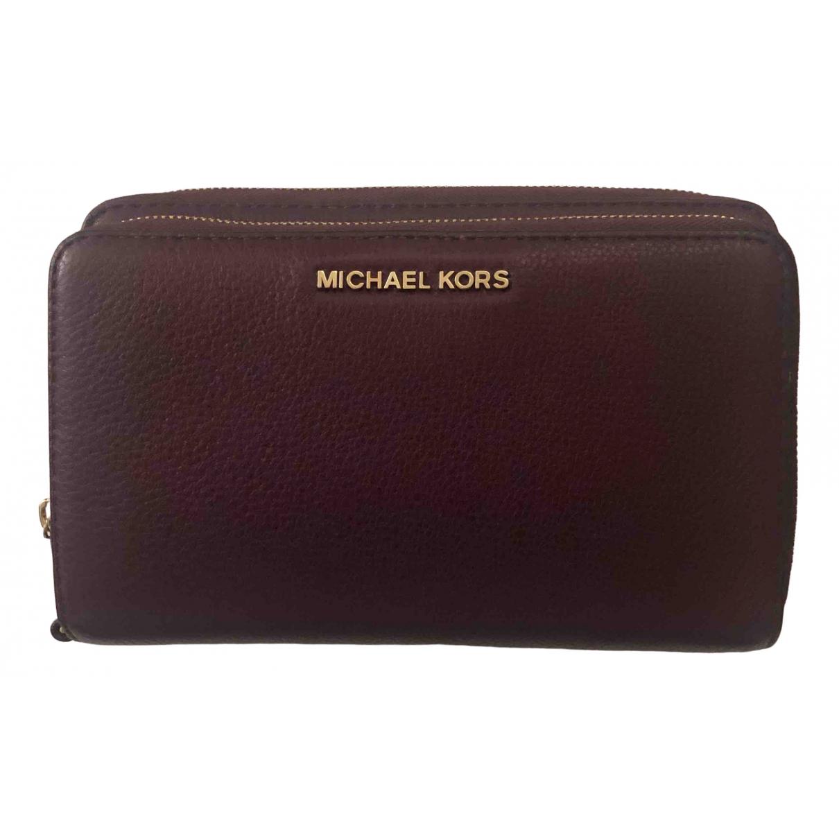 Michael Kors - Portefeuille Jet Set pour femme en cuir - bordeaux