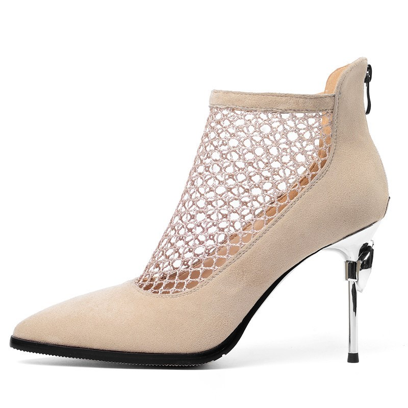 Ericdress Pointed Toe Zipper Hollow High Heel Boots