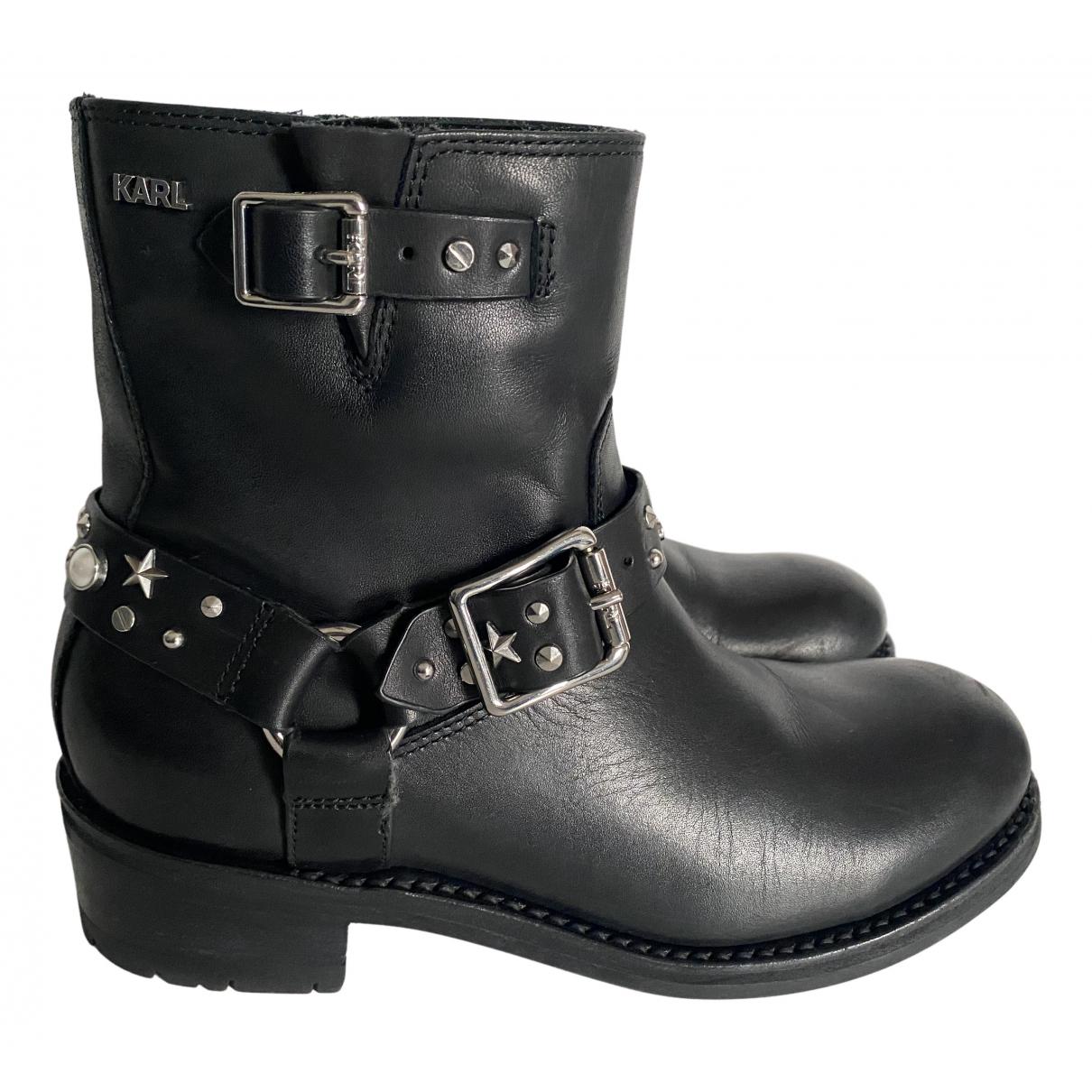 Karl Lagerfeld - Boots   pour femme en cuir - noir