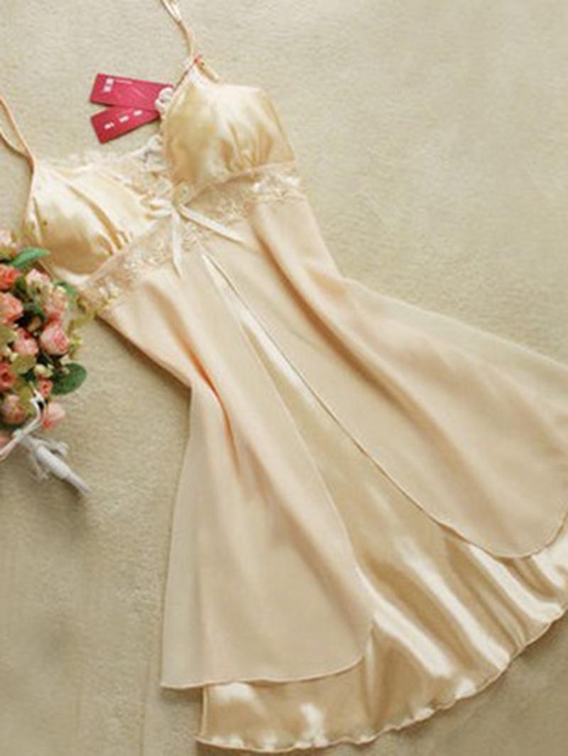 Ericdress Lingerie Mesh Bowknot Plain Lace Plus Size Nightgown