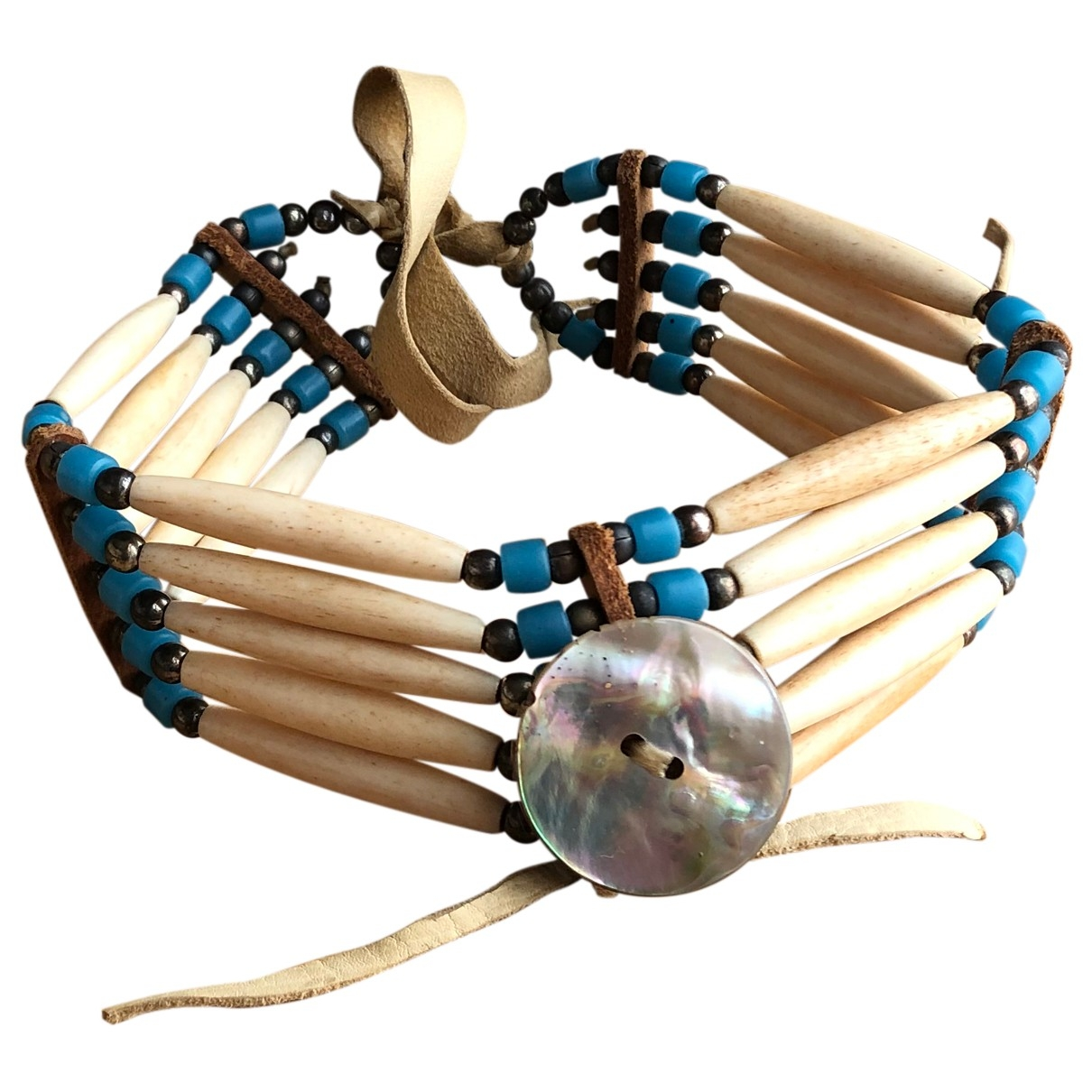 Collar Motifs Ethniques de Cuero Non Signe / Unsigned