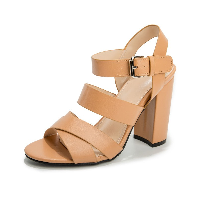 Ericdress Line-Style Buckle Chunky Heel Open Toe Thread Sandals