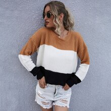 Drop Shoulder Colorblock Oversized Sweater