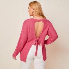 Plus Drop Shoulder Tie Open Back Solid Sweater