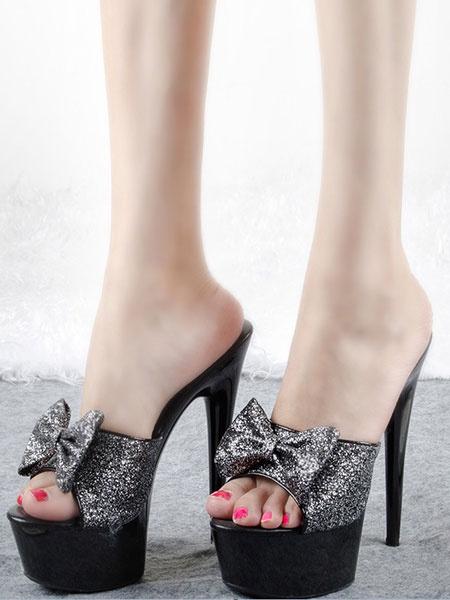 Milanoo Sandalias para pasar por la noche de tacon de stiletto estilo modernode puntera abierta de tela brillante