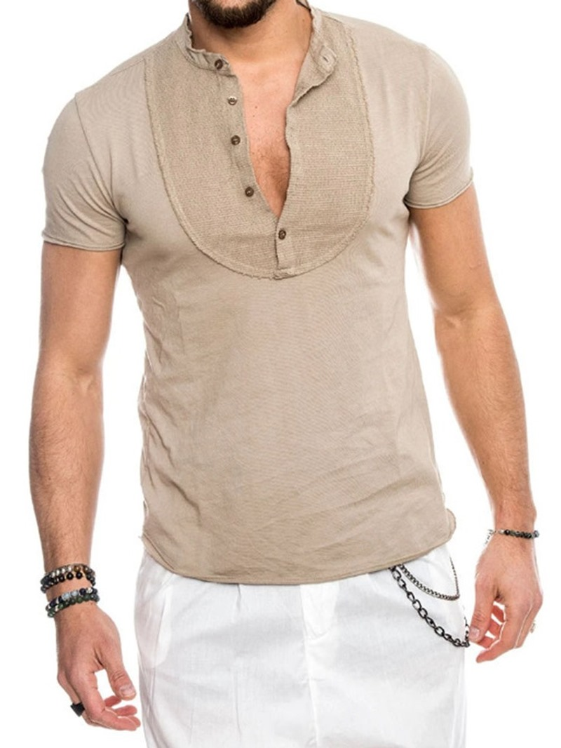 Ericdress Plain Stand Collar Casual Slim Short Sleeve T-shirt