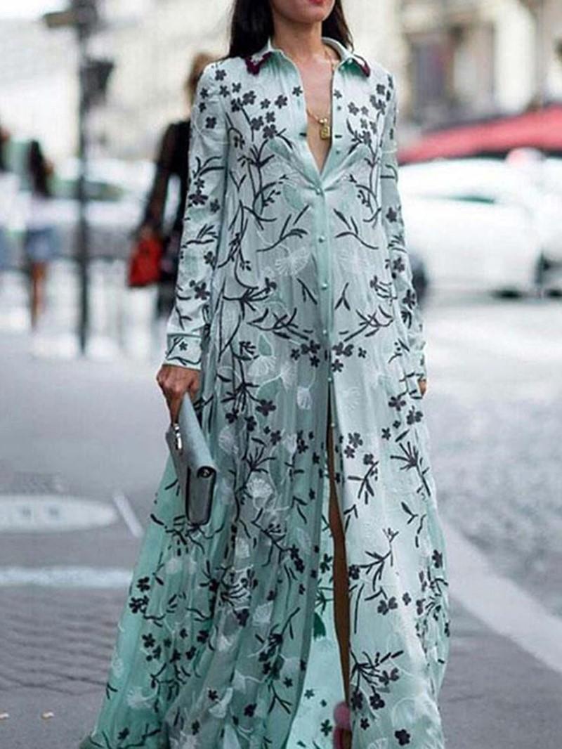 Ericdress Expansion Floral Print Floor-Length Lapel Regular Dress