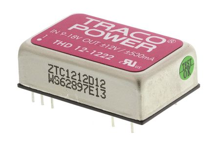 TRACOPOWER THD 12 12W Isolated DC-DC Converter Through Hole, Voltage in 9 → 18 V dc, Voltage out ±12V dc